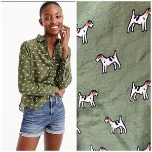 J. Crew jack russell terrier print popover shirt